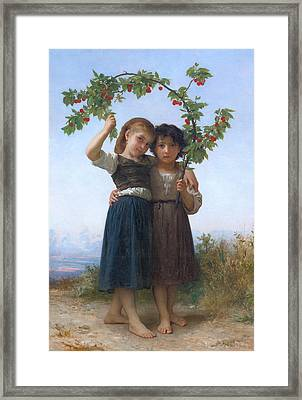 The Cherry Branch Framed Print by William-Adolphe Bouguereau