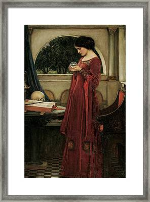 The Crystal Ball Framed Print by John William Waterhouse
