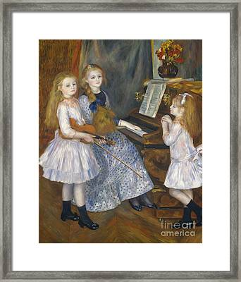 The Daughters Of Catulle Mendes At The Piano, 1888 Framed Print by Pierre Auguste Renoir