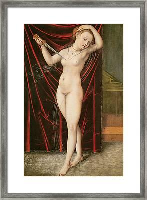 The Death Of Lucretia Framed Print by Lucas the elder Cranach