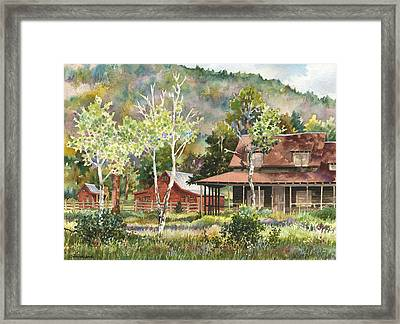 The Delonde Homestead At Caribou Ranch Framed Print by Anne Gifford