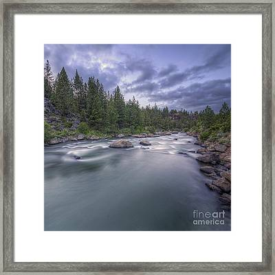 The Deschutes River At Dusk Framed Print