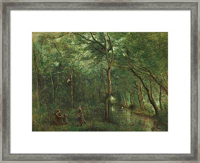 The Eel Gatherers Framed Print by Jean-Baptiste-Camille Corot