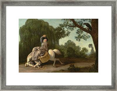 The Farmer's Wife And The Raven Framed Print