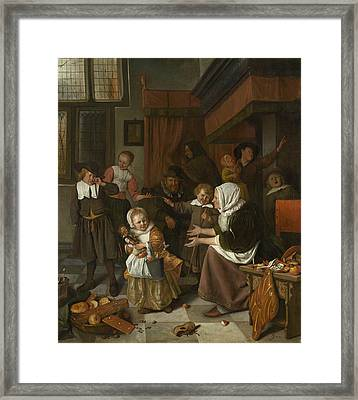 The Feast Of St. Nicholas Framed Print by Jan Steen