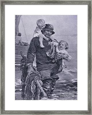 The Ferry Framed Print by Frederick Morgan
