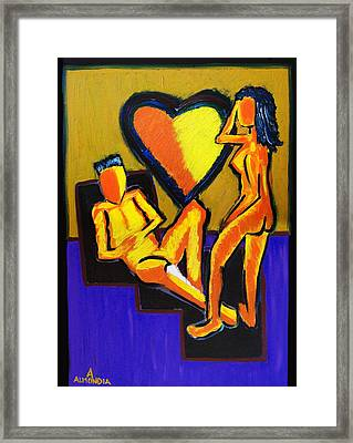 The Fire Between Us Framed Print by Albert Almondia