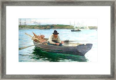 Framed Print featuring the painting The Fisherman by Henry Scott Tuke