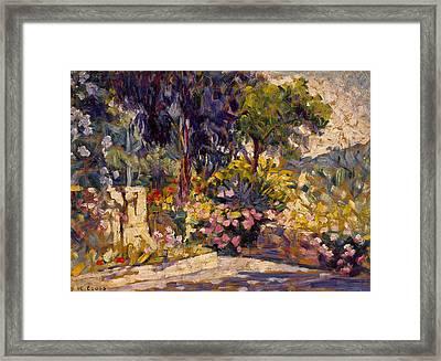 The Flowered Terrace Framed Print by Henri-Edmond Cross