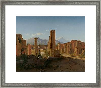 The Forum At Pompeii With Vesuvius In The Background Framed Print by Christen Kobke