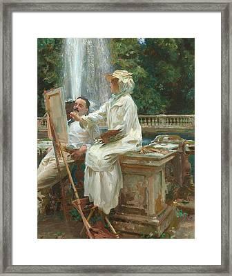 The Fountain Villa Torlonia Frascati Italy Framed Print by John Singer Sargent