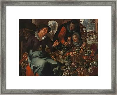 The Fruit And Vegetable Seller Framed Print by Joachim Wtewael
