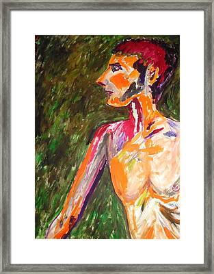 Framed Print featuring the painting Benjamin Beseiged by Esther Newman-Cohen