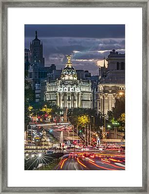 The Gran Via Madrid Spain Framed Print