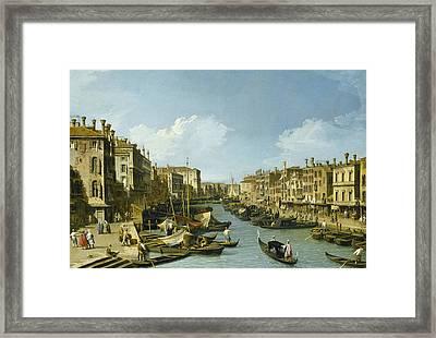 The Grand Canal Near The Rialto Bridge, Venice Framed Print by Canaletto