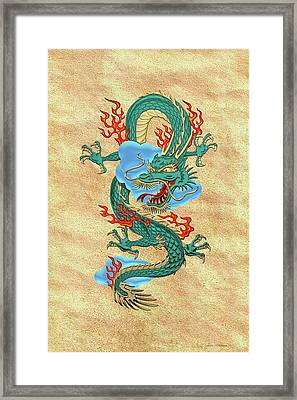 The Great Dragon Spirits - Turquoise Dragon On Rice Paper Framed Print by Serge Averbukh