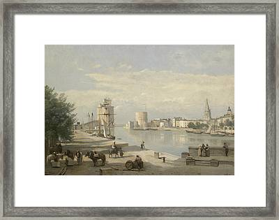 The Harbor Of La Rochelle Framed Print by Jean-Baptiste-Camille Corot