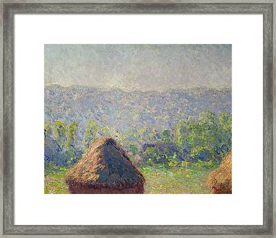 The Haystacks Framed Print by Claude Monet