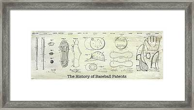 The History Of Baseball Patents Framed Print
