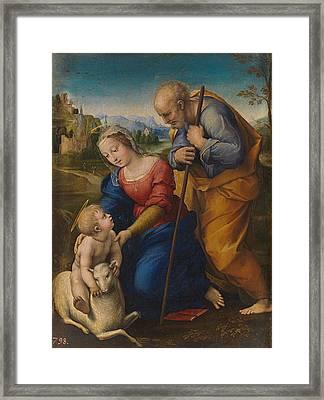 The Holy Family With A Lamb Framed Print by Raffaello Sanzio