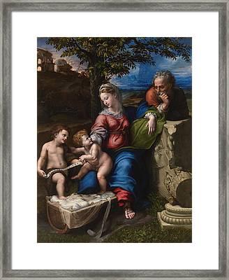 The Holy Family With An Oak Tree Framed Print by Raffaello Sanzio