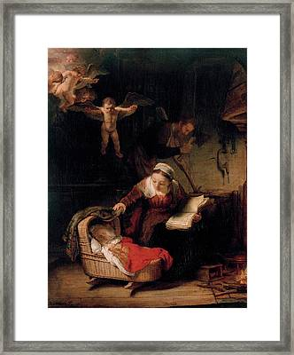 The Holy Family With Angels Framed Print by Rembrandt van Rijn