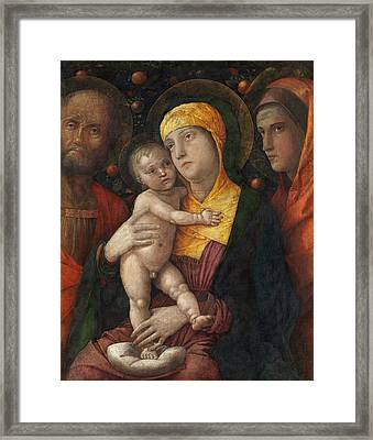 The Holy Family With Saint Mary Magdalen Framed Print by Andrea Mantegna