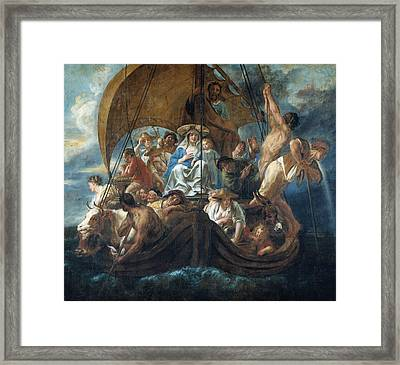 The Holy Family With Various Persons And Animals In A Boat Framed Print
