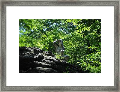The Indian Along The Wissahickon Creek Framed Print
