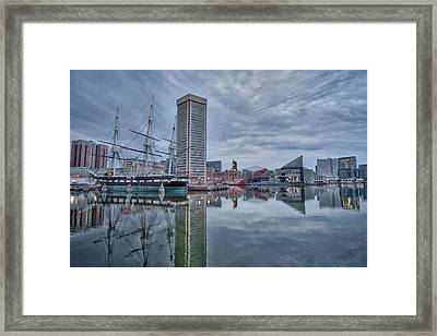 Framed Print featuring the photograph The Inner Harbor On A Sunday Cloudy Morning by Mark Dodd