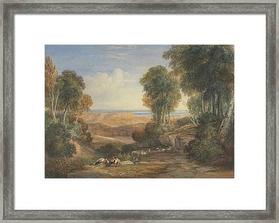 The Junction Of The Severn And The Wye With Chepstow In The Distance Framed Print