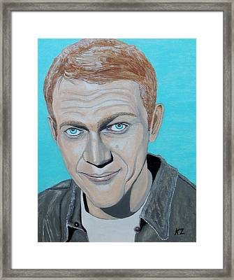 The King Of Cool.steve Mcqueen. Framed Print by Ken Zabel