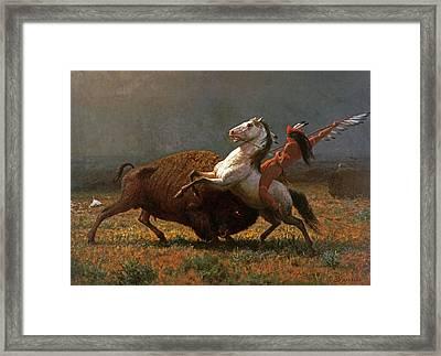 The Last Of The Buffalo Framed Print by Albert Bierstadt