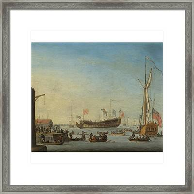 The Launch Of A Man Of War Framed Print by Robert Woodcock