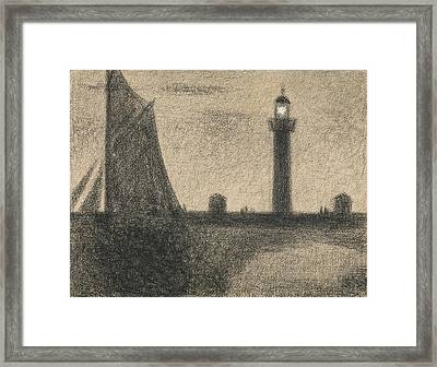 The Lighthouse At Honfleur Framed Print by Georges-Pierre Seurat