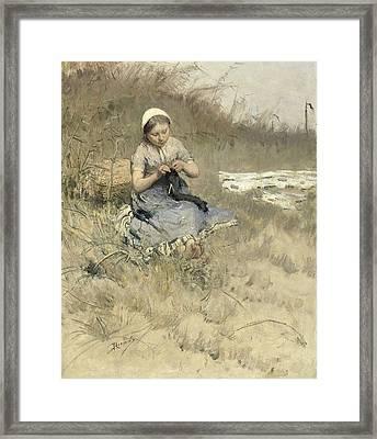 The Little Knitter Framed Print by Bernard Blommers