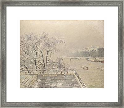 The Louvre Under Snow Framed Print by Camille Pissarro