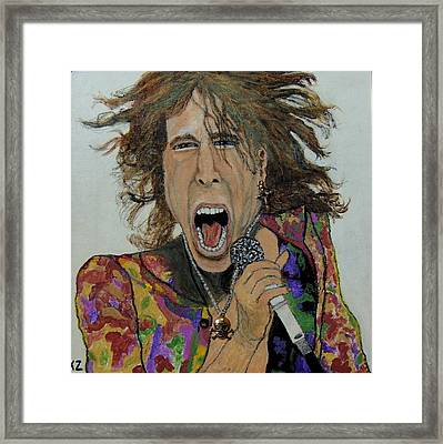 The Madman Of Rock.steven Tyler. Framed Print by Ken Zabel
