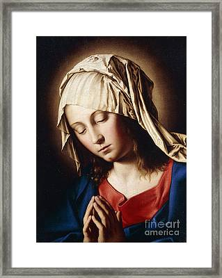 The Madonna In Prayer Framed Print by Il Sassoferrato