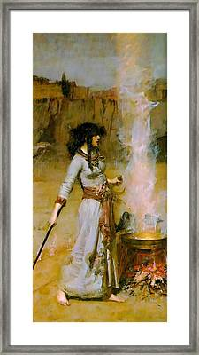 The Magic Circle Framed Print by John William Waterhouse