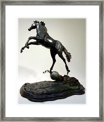 Framed Print featuring the sculpture The Moonhorse Bronze  by Dawn Senior-Trask
