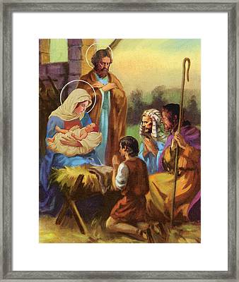The Nativity Framed Print by Valer Ian