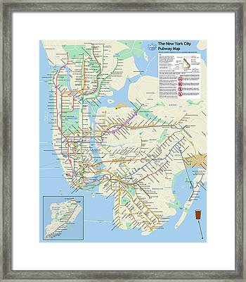 The New York City Pubway Map Framed Print by Unquestionable Taste