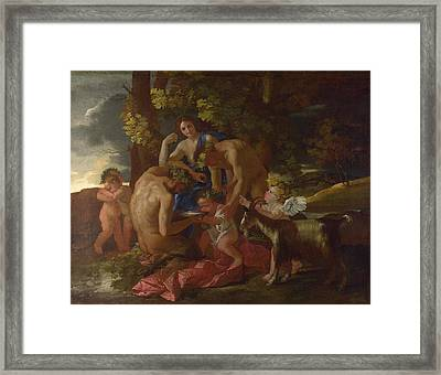 The Nurture Of Bacchus Framed Print by Nicolas Poussin