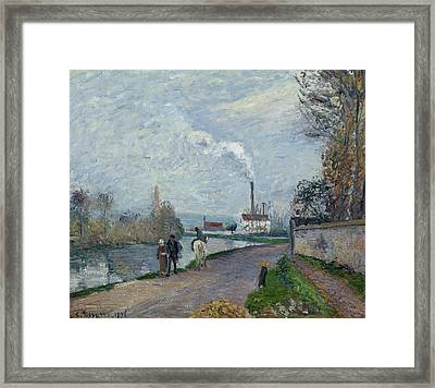The Oise Near Pontoise In Grey Weather  Framed Print by Camille Pissarro