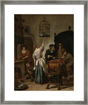 The Parrot Cage Framed Print by Jan Steen