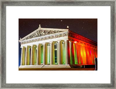 The  Parthenon Under The Stars Framed Print by Robert Hebert