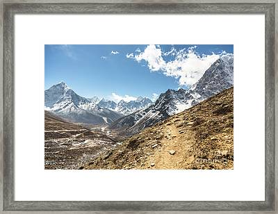 The Path To Cho La Pass In Nepal Framed Print