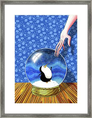 The Penguin Who Didn't Like Snow  Framed Print by Andrew Hitchen