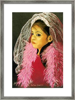 Framed Print featuring the pastel The Pink Boa by Jan Amiss